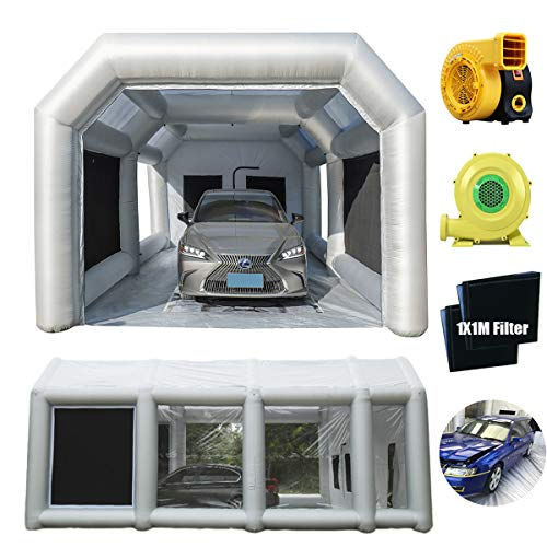 LuckyWe Portable Paint Booth Spray Booth Inflatable Paint Booth with Filter System for Cars 28x15x10FT Airbrush Paint Booth with 950Watt and 750Watt Blowers Fans