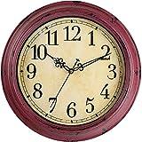 Lisedeer Reloj de Pared Vintage Redondo de 30,5 cm, silencioso, sin tictac, Gran Esfera Negra con números arábigos fáciles de Leer, decoración para salón, Cocina, Dormitorio, Oficina (Morado)
