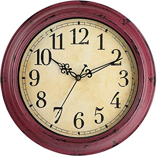 Lisedeer Reloj de Pared Vintage Redondo de 30,5 cm, silencioso, sin tictac, Gran Esfera Negra con números arábigos...