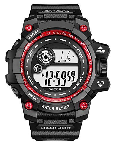 Relojes Deportivos para Hombres,Relojes Militares Digitales Impermeables Alarma/Cronómetro/Fech,Cronógrafo Multifunción Relojes de Pulsera Digitales Analógicos LED para Hombres Adolescentes