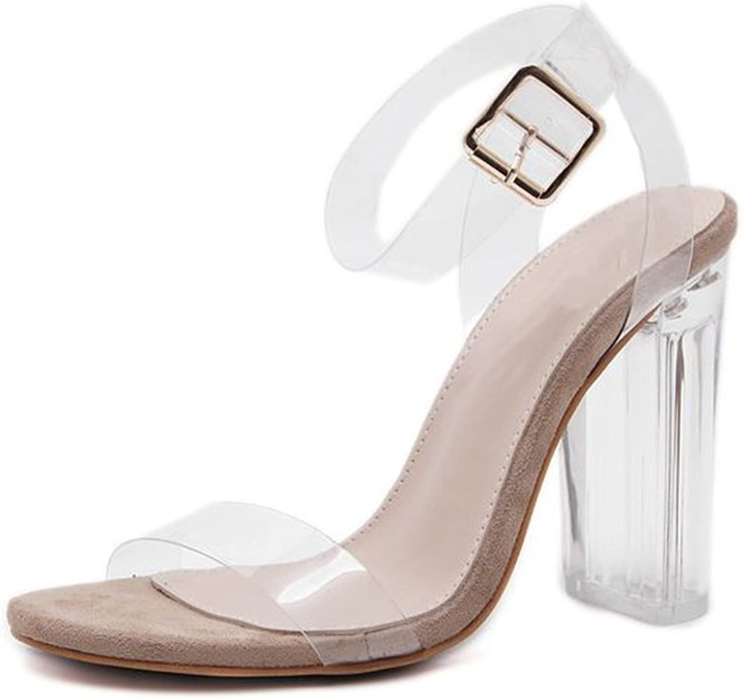 Xiaoyang Women's Lucite Clear Strappy Block Chunky High Heel Open Peep Toe Sandal