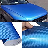 DIYAH 4D Blue Carbon Fiber Vinyl Wrap Sticker with Air...