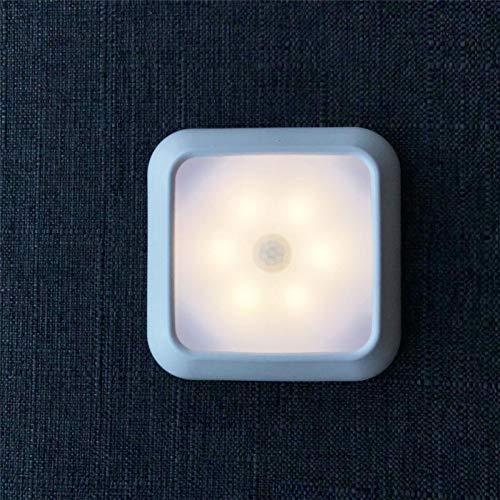 XHSHLID LED-wandlamp met bewegingsmelder, wandlamp, 6 LED-lampen, nachtlampje met noodlicht, werkt op batterijen, voor de muur