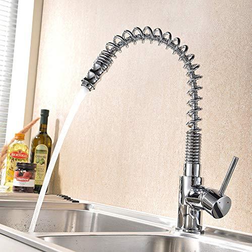 Lutriva Wasserhahn Küche 360° drehbar Küchenarmatur mit Herausziehbarer Spiralfederhahn Mischbatterien, Verchromt Keramikkartusche