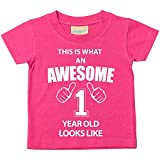 60 Second Makeover Limited This is What an Awesome 1 Year Old Looks Like Pink Tshirt 1st Birthday Baby Toddler Kids Available in Sizes 0-6 Months t