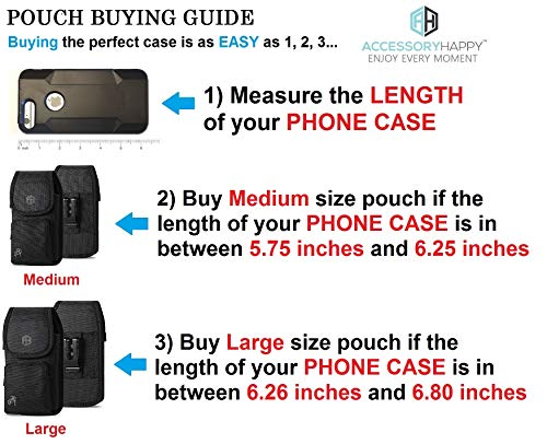 AH Military Grade Case w/Storage Pocket, Compatible w/iPhone 12 Pro Max XR iPhone 8 Plus,7 Plus,6s Plus, OnePlus 6T Rugged Cell Phone Nylon Belt Holster Carrying Bag Fits Phone w/Thick CASE (Large)