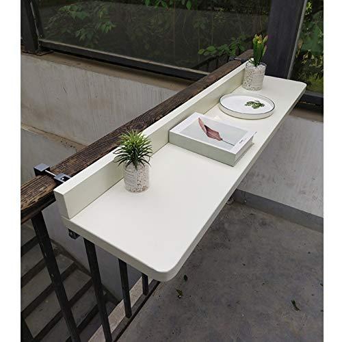 SYTH Mesas auxiliares al Aire Libre, Mesa de barandilla Colgante Plegable para balcón, Mesa de jardín con terraza...