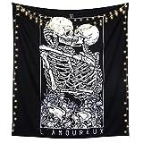 LOMOHOO Skull Tapestry Kissing Lover Black and White Tarot Skeleton Flower Tapestry Wall Hanging Beach Blanket Romantic Bedroom Dorm Home Decor (M:130x150cm/51'x59')