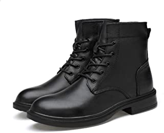 Men's Military Boots,Outdoor Work Walking Combat Boots Winter Cotton Lining Lace-ups Shoes,Black A- 41/UK 7.5/US 8