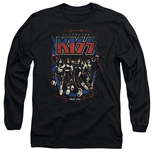 Kiss - Männer Destroyer Langarm-T-Shirt, X-Large, Black