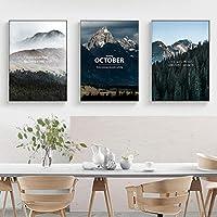キャンバス絵画スカンジナビアの山と森キャンバスプリント壁アート風景ポスター北欧絵画装飾画像-60x80cmx3フレームなし