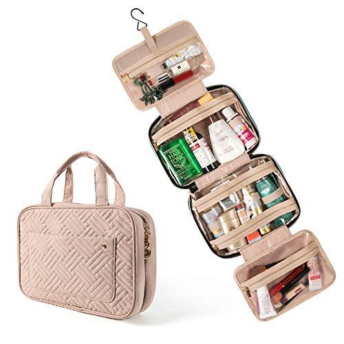 Trousse de toilette de voyage à suspendre - Grand sac de rangement portable avec 4 compartiments - 1 crochet robuste pour femmes, hommes, filles, voyage d'affaires Rose rose grand