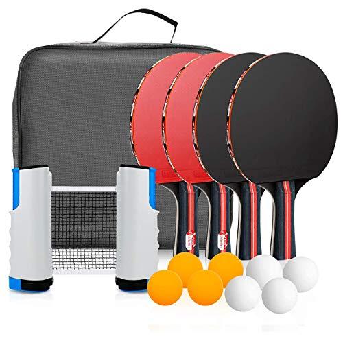 Powcan Tischtennis-Set 4 Tischtennisschläger/Schläger + Ausziehbare Tischtennisnetz + 8 Bälle, Ping Pong Set Spiel für Anfänger, Familien und Profis