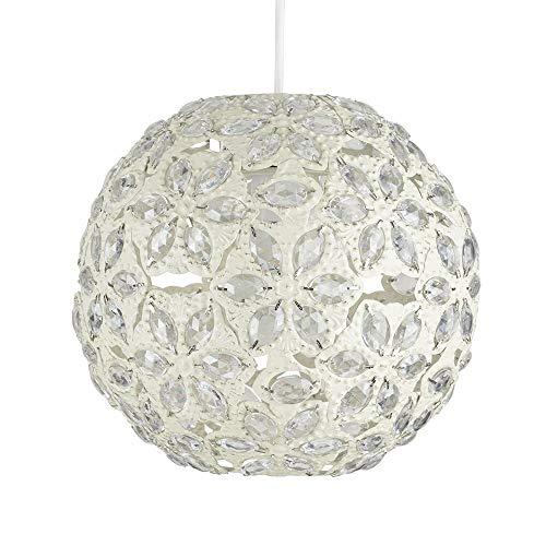 MiniSun – Schöner runder Lampenschirm aus gehämmertem Metall mit cremefarbenem Shabby-Chic-Finish und eingelegten Acryl-Juwelen im marokkanischen Stil – für Hänge- und Pendelleuchte