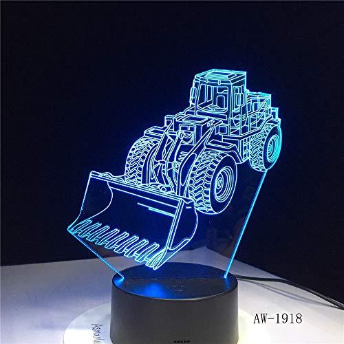 Jiushixw 3D acryl nachtlampje met afstandsbediening van kleur veranderende tafellamp buldozer tractor vrachtwagen auto tablet tafel basiseend ei blauw tafellamp kleur