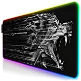 TITANWOLF - RGB Tapis de Souris Gaming XXL - LED Lumineuse Tapis de Souris Multicolore 11 Modes - 800 x 300mm - Surface...