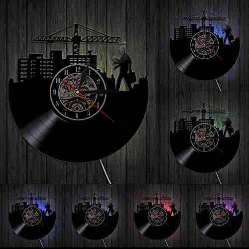 Reloj de Pared con Disco de Vinilo, luz LED, Horizonte arquitectónico, diseño Moderno, Trabajador de la construcción, Arquitecto, Relojes Decorativos, decoración única para el hogar