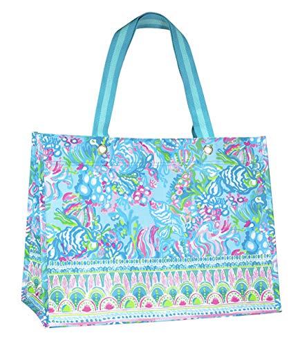Lilly Pulitzer Blue/Green XL Market Shopper Bag, Oversize Reusable Grocery Tote with Comfortable Shoulder Straps, Aqua La Vista