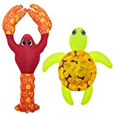 PUPTECK Floating Squeaky Fetch Dog Toy 2 Pack - Interactive Dog Fetch Water Training Toys, Cute Fire Hose Ballistic Turtle Lobster Pool Toys for Small to Large Dogs