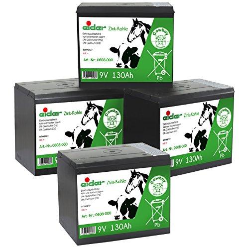Eider Batterie Sparpack: 4X 9V-Zink-Kohle-Trockenbatterie 130 AH - Lange Laufzeit & Günstiger Preis - für 9 Volt Weidezaungeräte