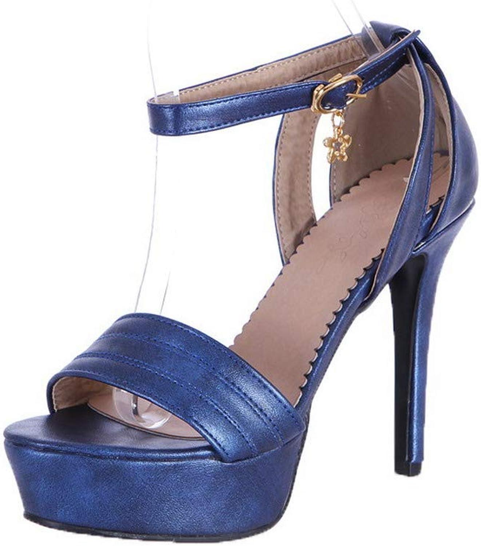 AllhqFashion Women's Pu Solid Buckle Open Toe High Heels Sandals