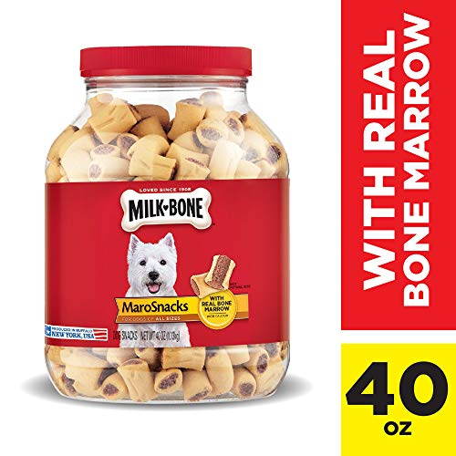 Milk-Bone MaroSnacks Dog Treats with Real Bone Marrow and Calcium, 40 Oz. Jar, All Size Dogs