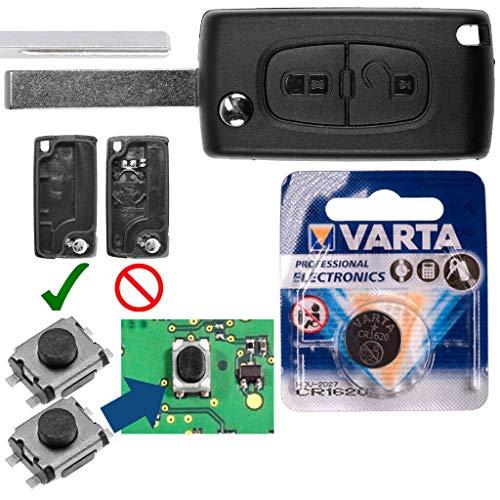Repair Reparatur Satz Autoschlüssel Funk Fernbedienung Austausch Gehäuse mit 2 Tasten + HU83 Rohling + Batterie kompatibel mit Peugeot 207 307 308 807 5008