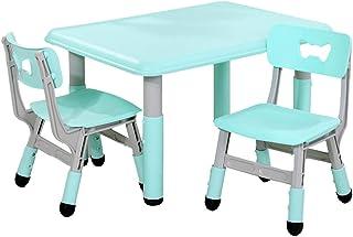 ZHAOHUI Mesas Y Sillas Infantiles Altura Ajustable Juego Conjunto Infantil De Mesa para Niños Pintura Aprender Casa Al Aire Libre Carga 70 Kg, 2 Colores (Color : Green-C)