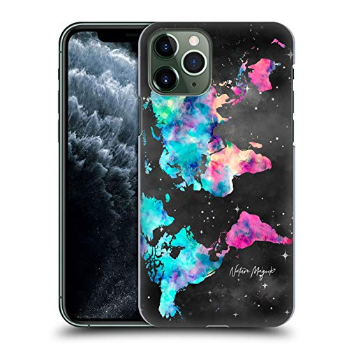 Head Case Designs Ufficiale Nature Magick Colorful Pink Teal Paint Watercolor World Map Teal Pink Cover Dura per Parte Posteriore Compatibile con iPhone 11 PRO