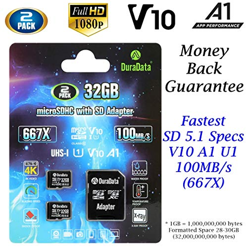 2-Pack TF Card 32GB Micro SD SDHC Card Plus Adapter (Amplim MicroSD Memory Card V10 A1 Class 10 UHS-I) 2X 32 GB Ultra High Speed 100MB/s 667X for Cell Phone Tablet GoPro Camera Fire Nintendo 3DS DJI