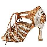 AOQUNFS Women Rhinestone Ballroom Dance Shoes Latin Salsa Performance Practice Wedding Party,Model YCL453-Brown-7.5,US 9