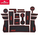 SMABEE Anti-Slip Gate Slot Mats Rubber Anti-Dust Cup Holders Mat for Chevrolet Cruze 2 2016-2019 RS Accessories Stickers Non-Slip 17pcs (RED)