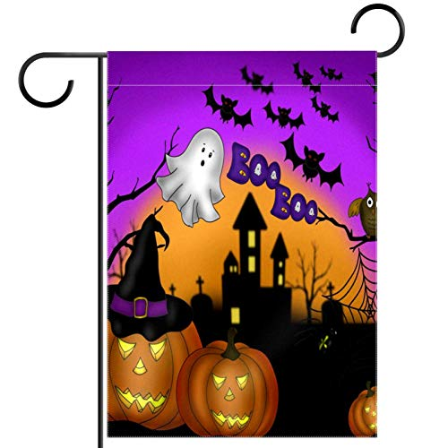 YATELI Garden Yard Flag 12x18 inch halloween night pumpkin lanterns Double-Sided Banner for House Home Outdoor Party Decor