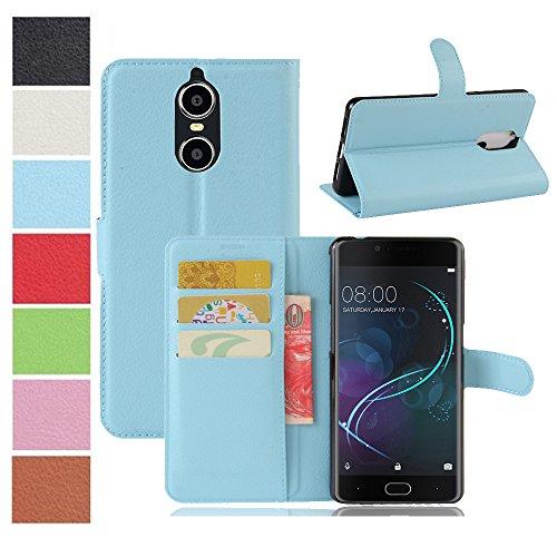 MAXKU DOOGEE Shoot 1 Hülle, Premium PU Leder Mappen Kasten für DOOGEE Shoot 1 Smartphone, Blau