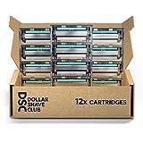 Dollar Shave Club 4 Blade Razor Refill Cartridges, Silver/Blue, 12 Count