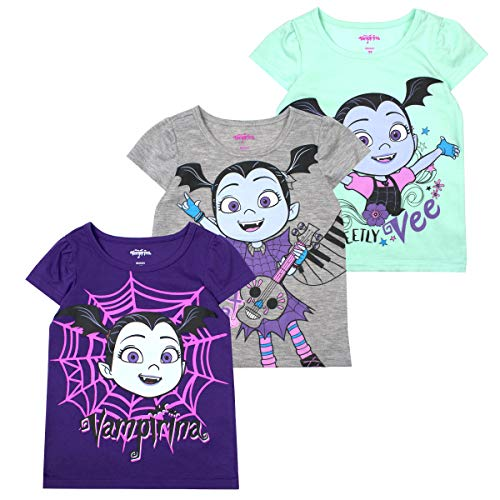 Disney Princess T-Shirts for Girls – 3 Pack Short Sleeve Graphic Tees, Vampirina Grey, 6