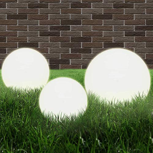 E E-NICES LED-Gartenleuchten-Set 3-TLG. Kugelförmig 20/30/40 cm PMMA