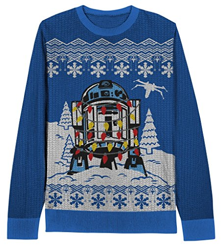 Star Wars Decorated R2D2 Youth Blue Brutto Maglione Natale Blu XL