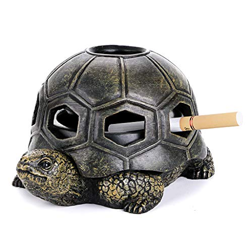 BSTKEY Cenicero de tortuga con tapas, cenicero creativo de mesa para cigarrillos y cigarrillos para uso en interiores y exteriores, regalo de decoración de manualidades de resina