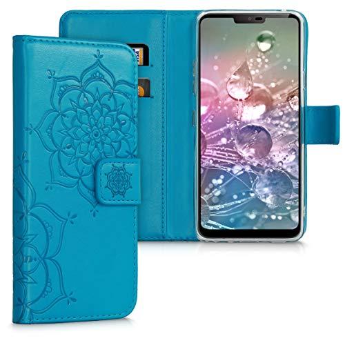 kwmobile Hülle kompatibel mit LG G7 ThinQ/Fit/One - Kunstleder Wallet Hülle mit Kartenfächern Stand Blumen Zwillinge Dunkelblau