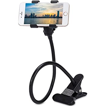"""BOKA® Gooseneck Arm Clip Metal Lazy Stand Mobile Phone Mount Super Flexible Durable Strong Grip 360 Degree Rotation for All Mobiles Size Upto 6.5"""" Inch - (Black)"""