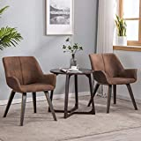 YEEFY Brown Leather Living Room Chairs with arms Upholstered Accent Chairs Set of 2 (Brown)