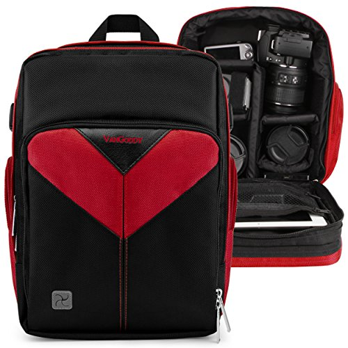 Photographer Camera Bag Fire Red for Nikon CoolPix L330, L340, B500, B700, P530, P610, L840, P900, P990, P1000, P7800