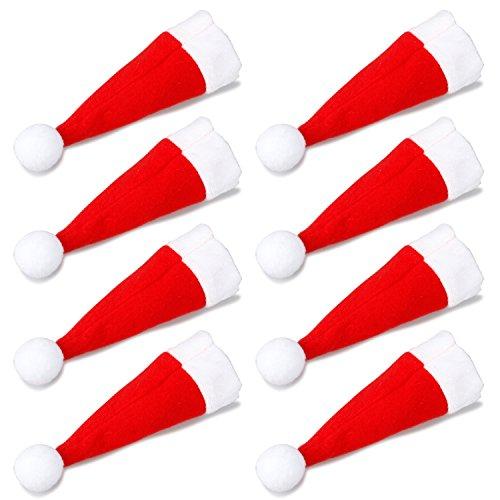TRIXES Set 8 Insólitos Porta Cubiertos Gorro de Papá Noel Cena de Navidad