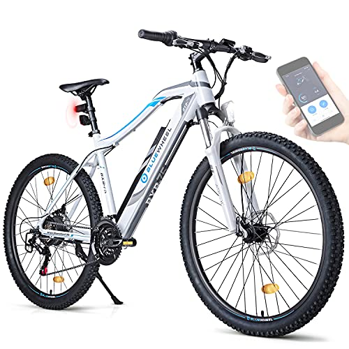 BLUEWHEEL E-bike 27.5' & 29' I Marchio tedesco di qualità   Conforme UE E-mountain bike 21 Marce & Motore posteriore per 25 km/h   Bici elettrica sospensione MTB, App & sella sportiva   BXB75