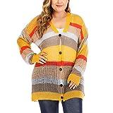 Duan hai rong Suéter de la Rebeca de Las Mujeres,Rayas de Color de Manga Larga...