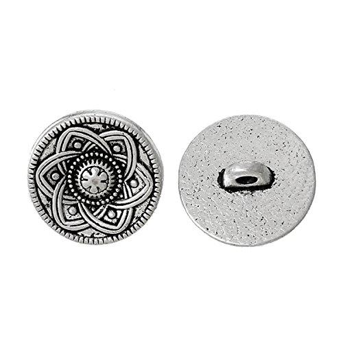 SiAura Material ® - 30 Stück Metallknöpfe, antiksilber, Keltic -Muster, Ø ca. 15mm, Lochgröße 2,2mm