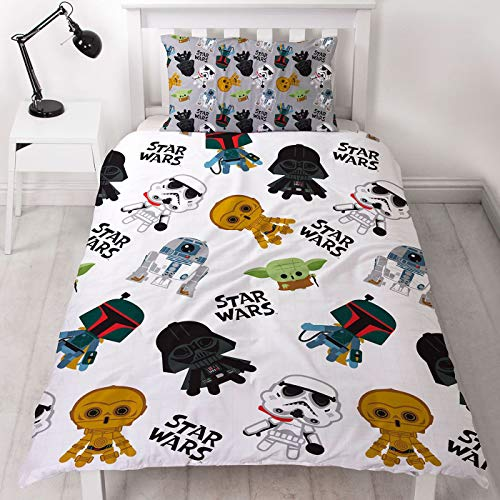 Character World Star Wars Single Duvet Cover Officially Licensed Reversible Two Sided Minis Design with Matching Pillowcase Featuring Yoda, Darth Vader, CP30 & R2-D2 Polyester, White