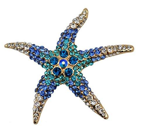 Gudeke Mar Estrella de mar Grande Diamante de imitación Broche y Pin Cuerpo, Cinco Colores Opcionales