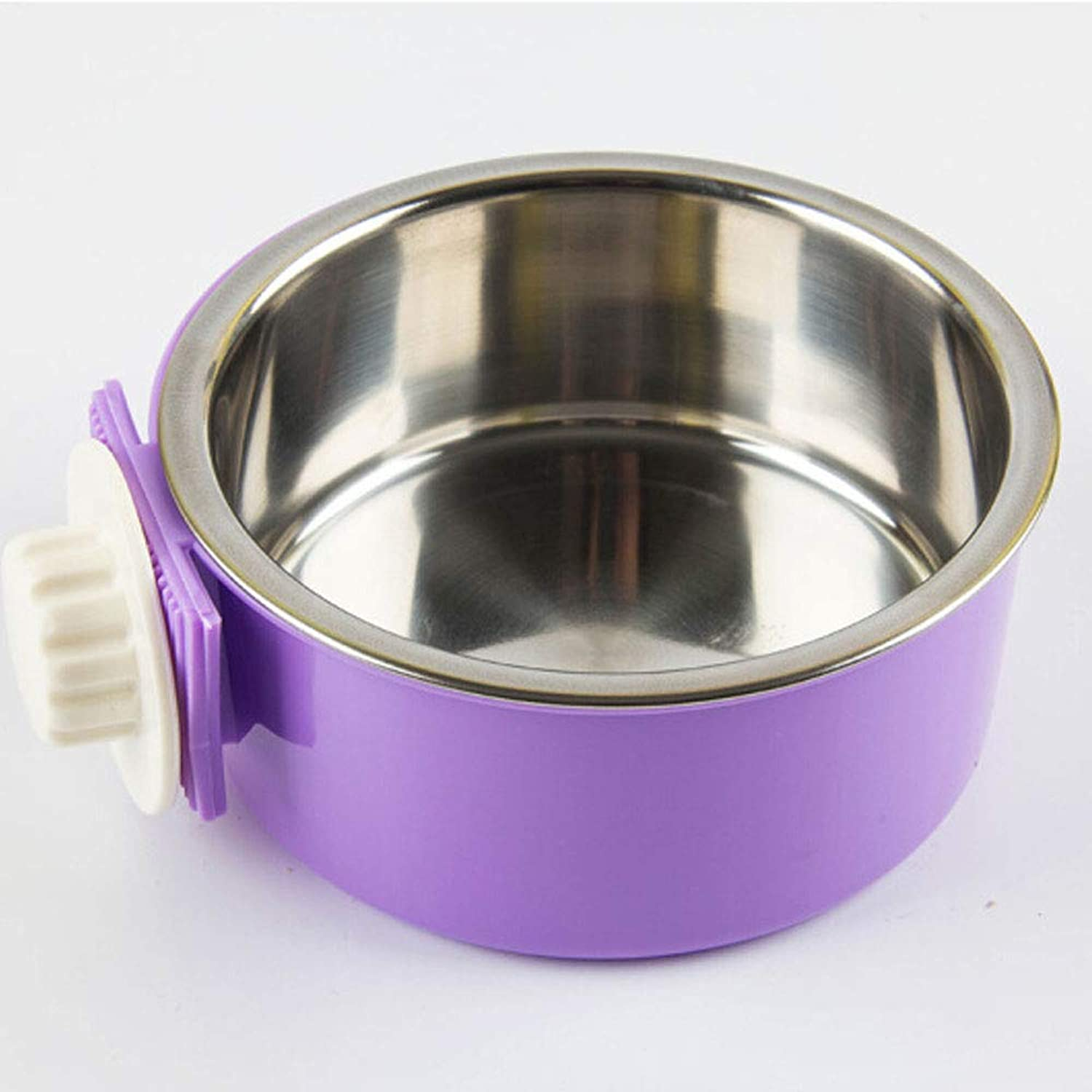Dog Cage Fixed Stainless Steel Hanging Bowl, Pet Single Bowl, Medium and Large Dog Supplies, S Code · Bowl Height  2.2 Inches  Purple (color   Purple, Size   5  5  2.2)